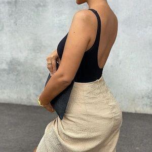 Black low cut back bodysuit